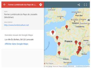carte des lombriculteurs en France